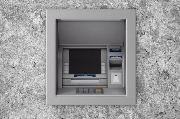 콘크리트 벽에 은행 현금 atm 기계를 만드십시오. 3d 렌더링