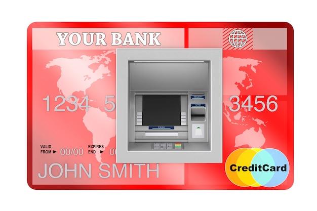 신용 카드 극단적인 근접 촬영에서 은행 현금 atm 기계에 구축. 3d 렌더링