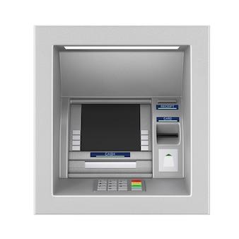 흰색 바탕에 은행 현금 atm 기계를 구축합니다. 3d 렌더링