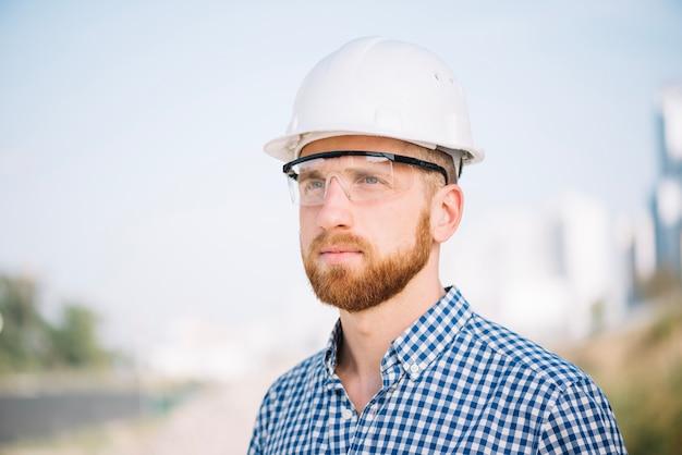 Builder in glasses