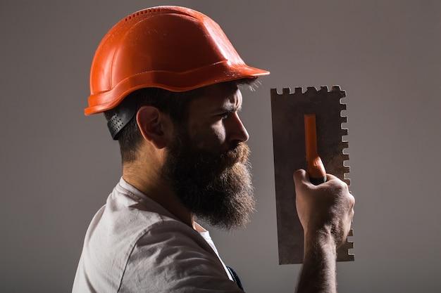 Builder in hard hat, helmet
