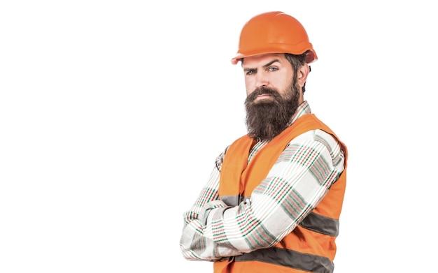 헬멧에 단단한 모자, 감독 또는 수리공을 쓴 빌더. 맨 빌더, 산업