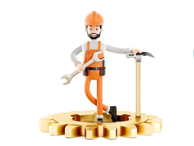 Строитель механик мультипликационный персонаж, забавный рабочий или инженер с механизмом и молотком