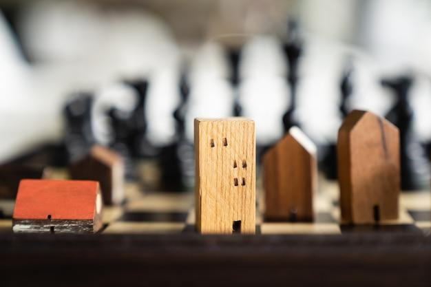 Модели зданий и домов в шахматной игре