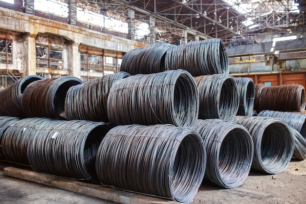 Building armature are located in the warehouse of metallurgical products.
