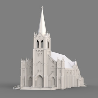 The building of the catholic church, views from different sides. three-dimensional white illustration on a gray surface