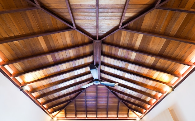 Building of construction the house roof with wooden structure and have ceiling