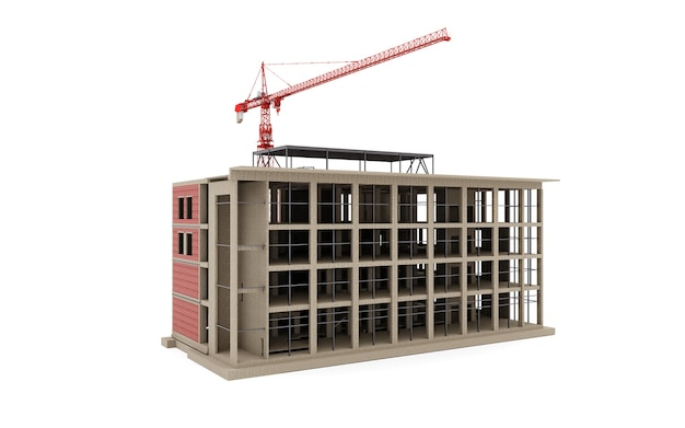 Building under construction model with a construction crane on a white