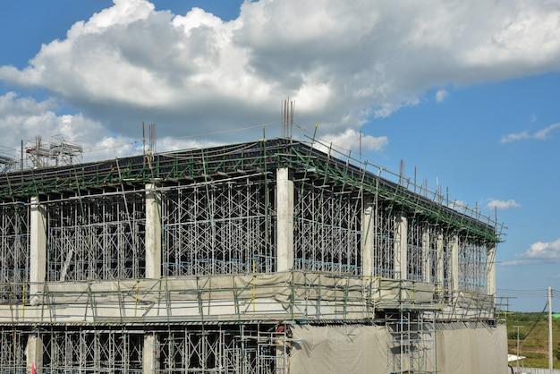 Building construction site beautiful blue sky flow background