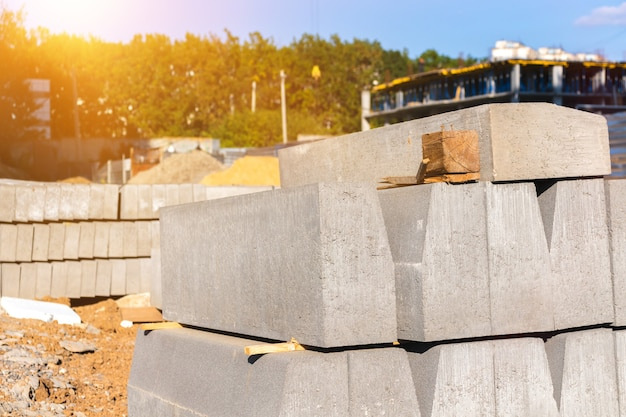 Building construction with quality building materials, concrete slabs background photo