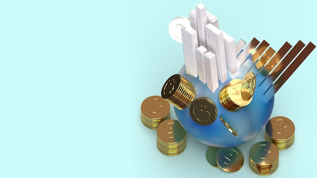 Building on earth coins and chart 3d rendering for business content.