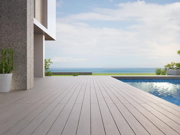 Рендеринг экстерьера здания с видом на море