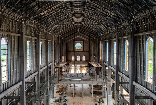 The building of holy name of jesus cathedral metal framing