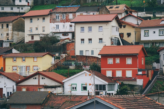Building and houses architecture in bilbao city, spain