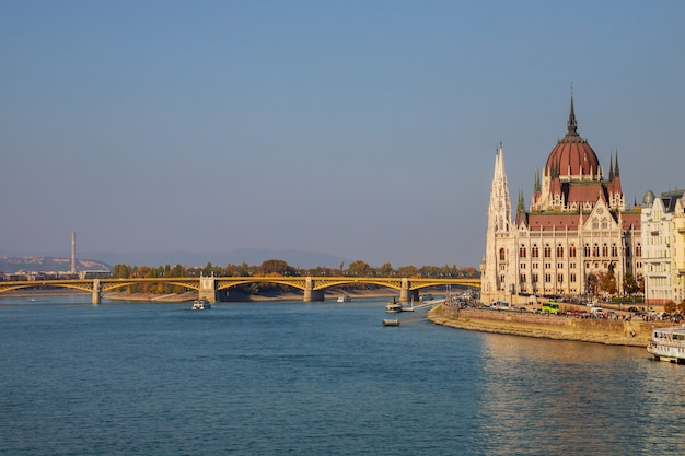 Building of the hungarian parliament in a budapest, capital of hungary, by the danube river