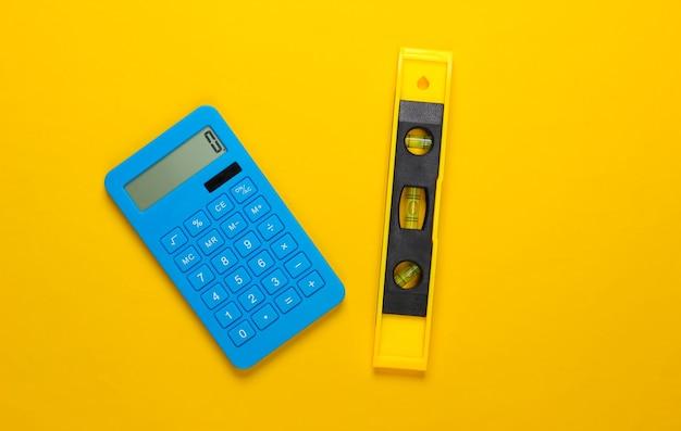 黄色いスタジオの建物レベルと計算機
