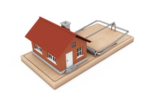 Концепция ссуды на строительство. дом над деревянной мышеловкой на белом фоне. 3d-рендеринг.