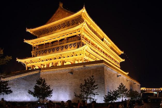 Building night lights china evening temple xian
