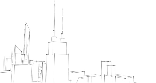 建物の視点白い背景の街並み街のスカイラインのモダンな建物