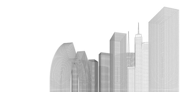 建物の視点、白い背景の街並み、街のスカイラインのモダンな建物