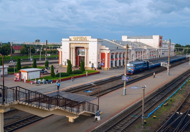 The building of the railway station in orsha. belarus.