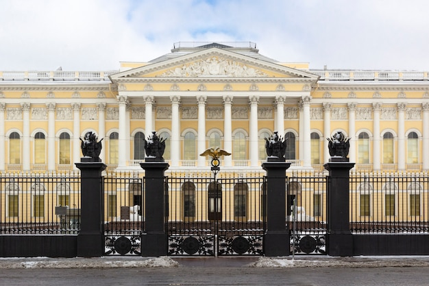 Building's facade state russian museum on square of arts in winter, st petersburg, russia.