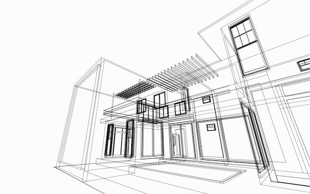 Архитектурный эскиз здания 3d иллюстрации, линии перспективы здания архитектуры