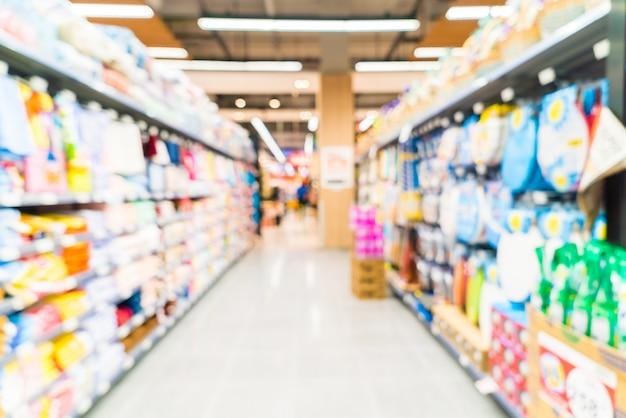 Edificio scaffali dei supermercati affari sfocatura