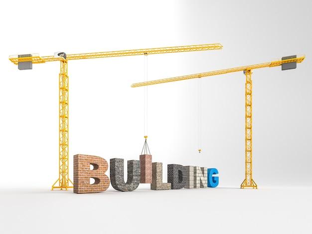 建物タイプのフォントの概念。 3dリアルレンダリング