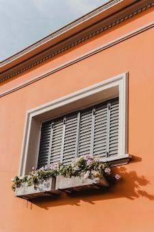 꽃과 함께 도시의 건물 창
