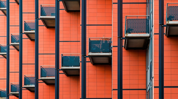 Building with many balconies, pattern of the facade of a building, balconies