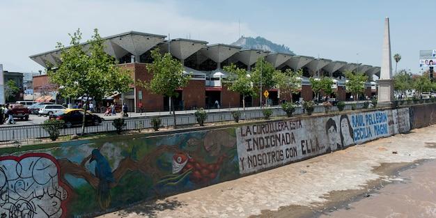 Buildings along the mapocho river, santiago, santiago metropolitan region, chile