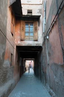 Buildings along a narrow street, medina, marrakesh, morocco