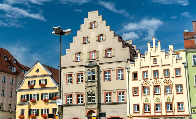 Buildings on arnulfsplatz square in the old town of regensburg, germany. world heritage site
