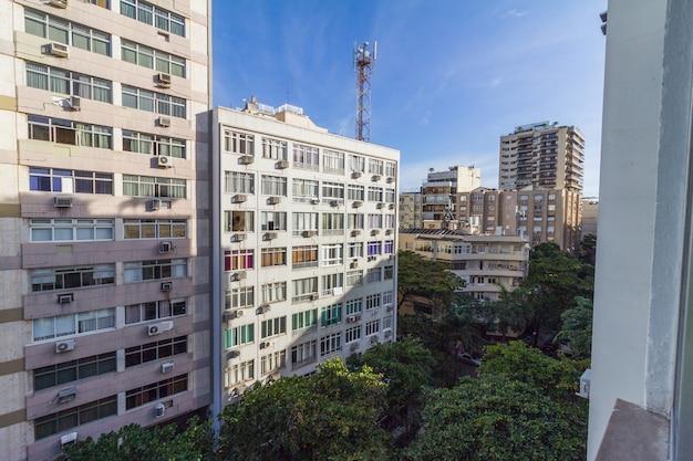 Buildings in the copacabana neighborhood in rio de janeiro brazil.
