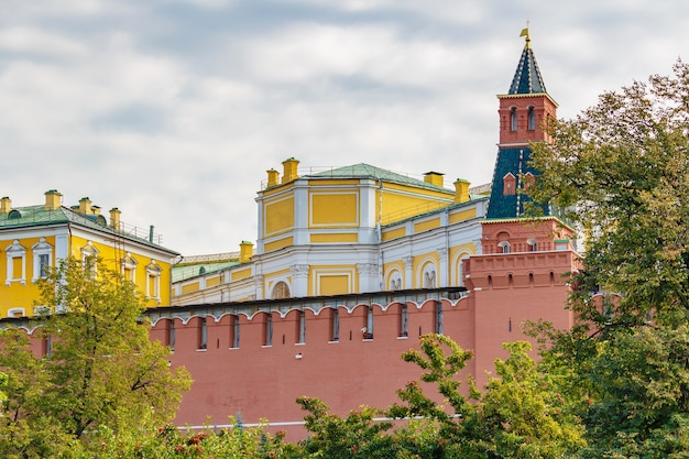 Buildings of moscow kremlin on a cloudy sky background at autumn day