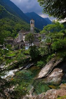 日中の川、木、岩の近くの建物