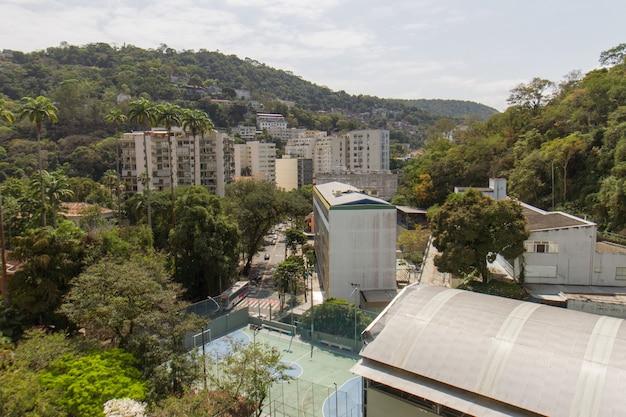 Buildings in the neighborhood of orange trees in rio de janeiro brazil.