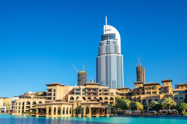 Buildings on the old town island in dubai, the uae