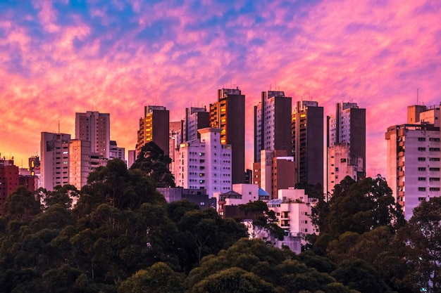 Buildings in sao paulo with colorful and unique sunset sky.