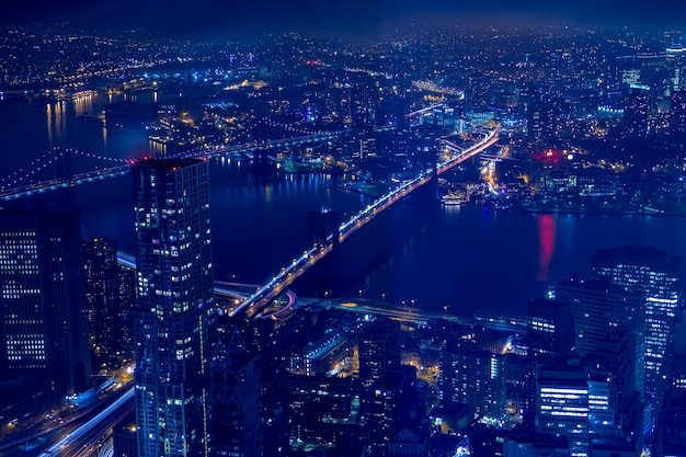 Buildings, skyscrapers, streets, the brooklyn and manhattan bridges at night in new york city. aerial view