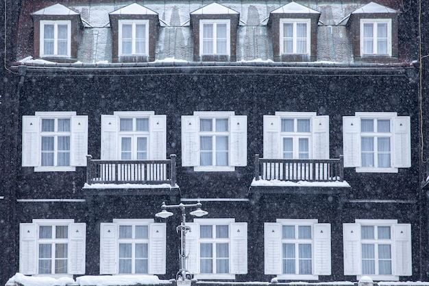 Buildings in the spa town, intended for rest, in winter. wellness, hotel, relax