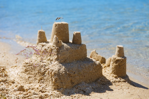 Built house sand castle with towers