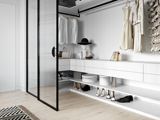 Встроенный шкаф со стеклянными дверцами в скандинавском стиле. 3d-рендеринг.