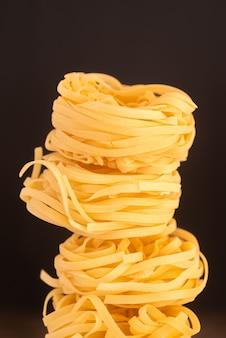 Built up pasta close-up shot