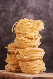 Built up pasta vertical shot