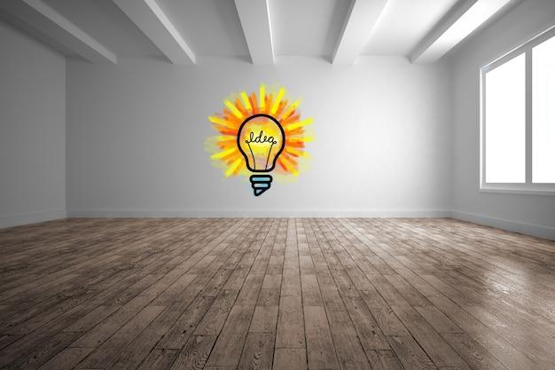 Bulb drawn on a wall