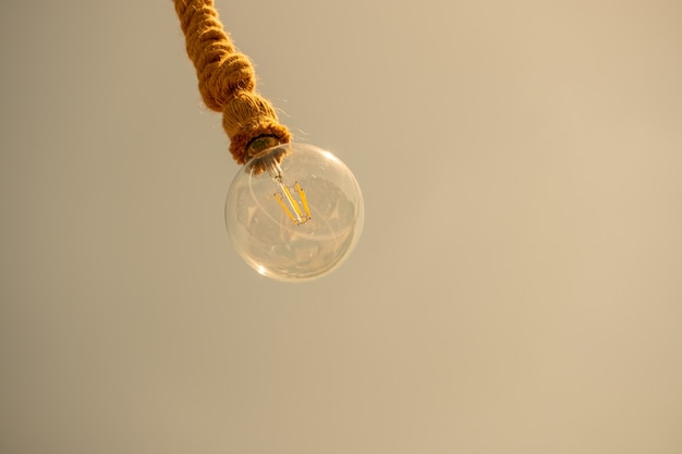 Bulb is hanging from a rope on a pale brown