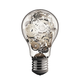 Bulb light with system of mechanical gears