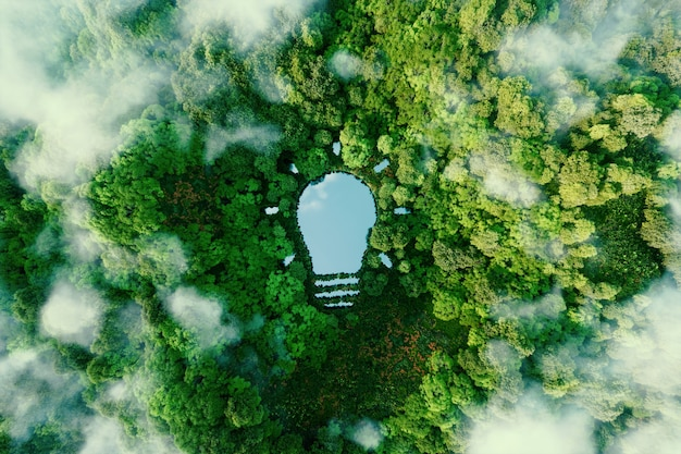 A bulb-shaped lake in the middle of a lush forest, symbolizing fresh ideas, inventiveness and creativity in relation to solving environmental problems. 3d rendering.